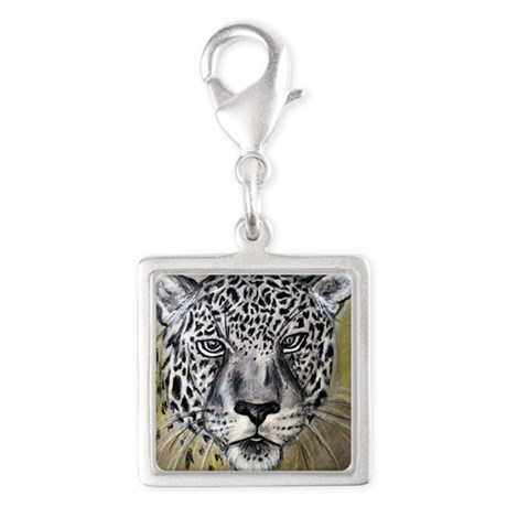 Leopard, wildlife art! Silver Square Charm