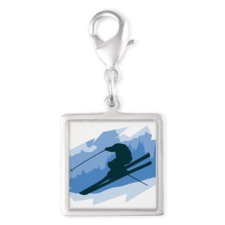Ski Jumper Silver Square Charm