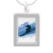 Ski Jumper Silver Portrait Necklace