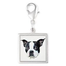 Boston Terrier Silver Square Charm