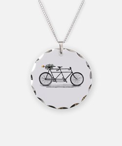 Tandem Bike Christmas Necklace
