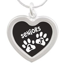 Paw Prints SENIORS 2013 Silver Heart Necklace