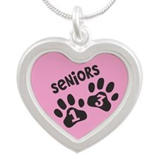 PINK Paw Prints SENIORS 2013 Silver Heart Necklace