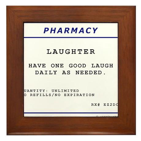 Laughtees Laughter Prescription Label Framed Tile