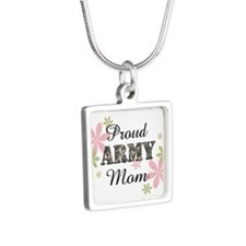 Proud Army Mom [fl2] Silver Square Necklace