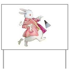 Alice's White Rabbit Yard Sign