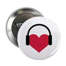 "Red heart headphones 2.25"" Button (100 pack)"