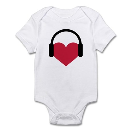 Red heart headphones Infant Bodysuit