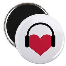 Red heart headphones Magnet