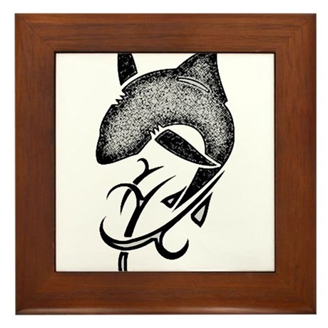 Tribal shark black Framed Tile