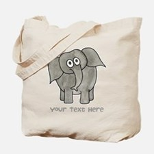 Elephant. Custom Text. Tote Bag