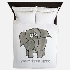Elephant. Custom Text. Queen Duvet