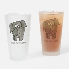 Elephant. Custom Text. Drinking Glass