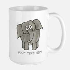 Elephant. Custom Text. Large Mug