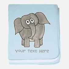 Elephant. Custom Text. baby blanket