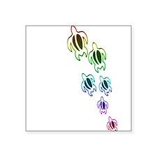 "Rainbow turtles Square Sticker 3"" x 3"""