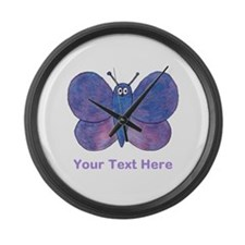 Butterfly. Custom Text. Large Wall Clock