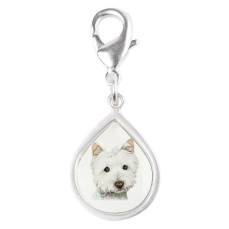 Cute West Highland White Terrier Dog Silver Teardr