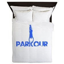Blue, Parkour, Hand Stand, Queen Duvet