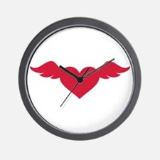 Red heart wings Wall Clock
