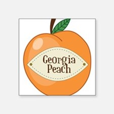 "Georgia Peach Square Sticker 3"" x 3"""