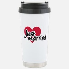 Just married red heart Travel Mug