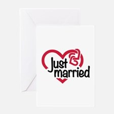 Just married heart Greeting Card