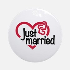 Just married heart Ornament (Round)