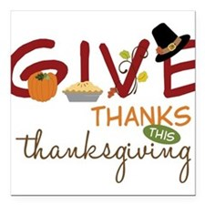 "Thanksgiving Square Car Magnet 3"" x 3"""