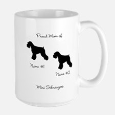 2 Schauzers - Cropped Tails/Natural Ears Large Mug