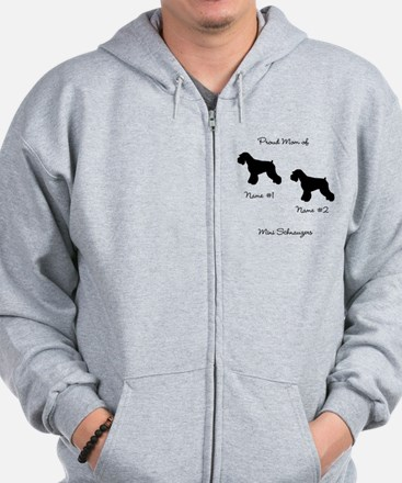 2 Schauzers - Cropped Tails/Natural Ears Zipped Hoody