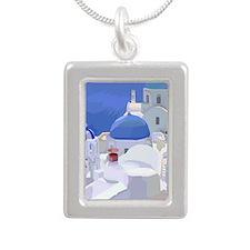 Greece Silver Portrait Necklace