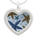 Gold and Blue Starfish Silver Heart Necklace
