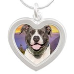 Pit Bull Meadow Silver Heart Necklace