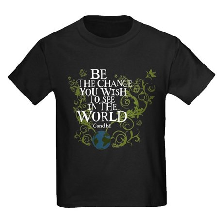 Be the Change - Earth - Green Vine Kids Dark T-Shi