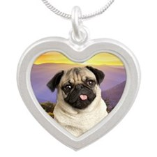 Pug Meadow Silver Heart Necklace
