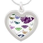 Butterflies Collage Silver Heart Necklace