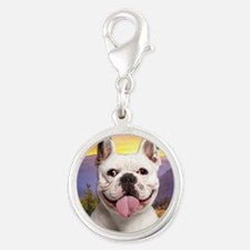 Frenchie Meadow Silver Round Charm