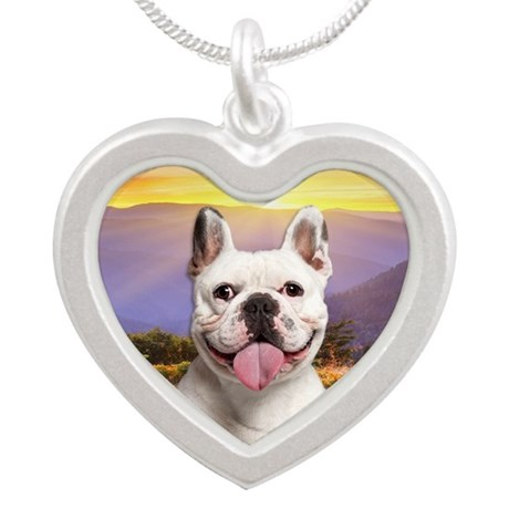 Frenchie Meadow Silver Heart Necklace