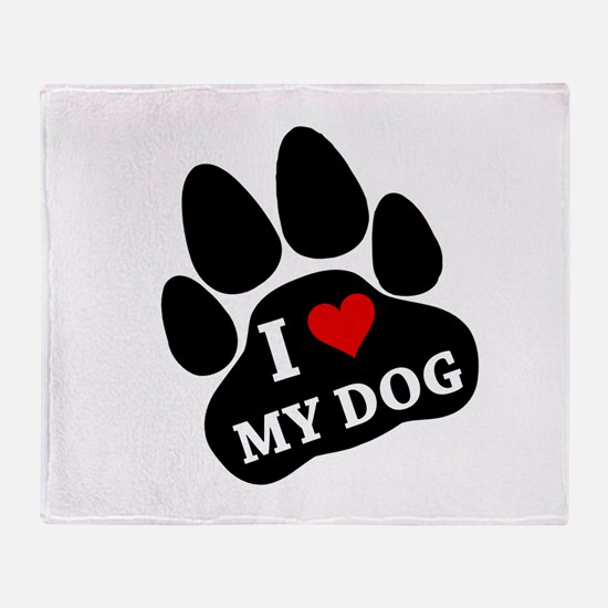 I Heart My Dog Throw Blanket
