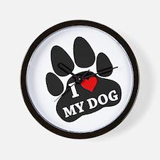 I Heart My Dog Wall Clock