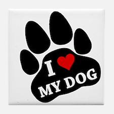 I Heart My Dog Tile Coaster