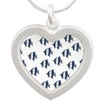 Blue Fish Silver Heart Necklace