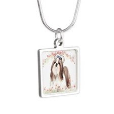 Shih Tzu Flowers Silver Square Necklace