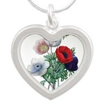 Poppy Anemones Silver Heart Necklace