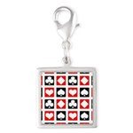 Deck Of Cards Silver Square Charm