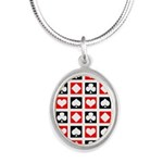Deck Of Cards Silver Oval Necklace