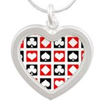 Deck Of Cards Silver Heart Necklace