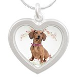Dachshund Flowers Silver Heart Necklace