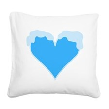 Snow Capped Heart Square Canvas Pillow